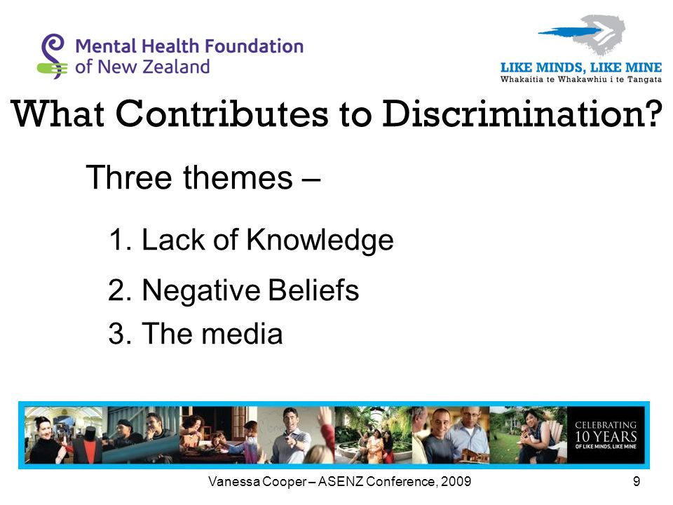 Vanessa Cooper – ASENZ Conference, 20099 What Contributes to Discrimination.