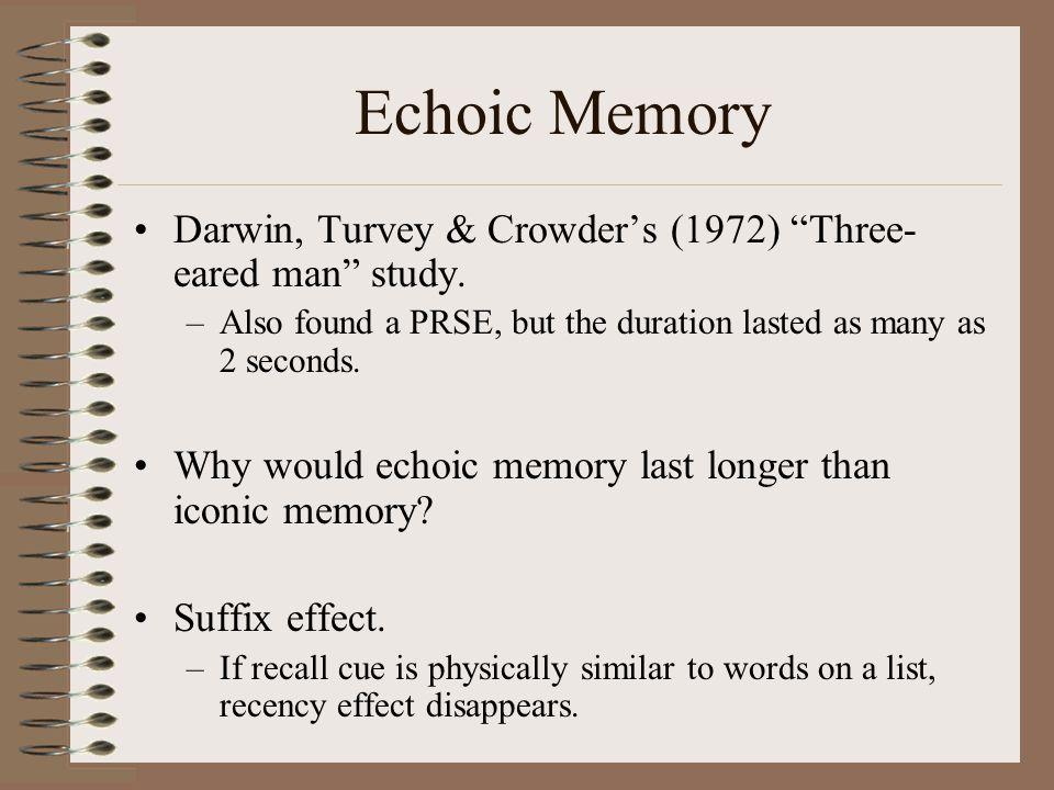 Echoic Memory Darwin, Turvey & Crowder's (1972) Three- eared man study.