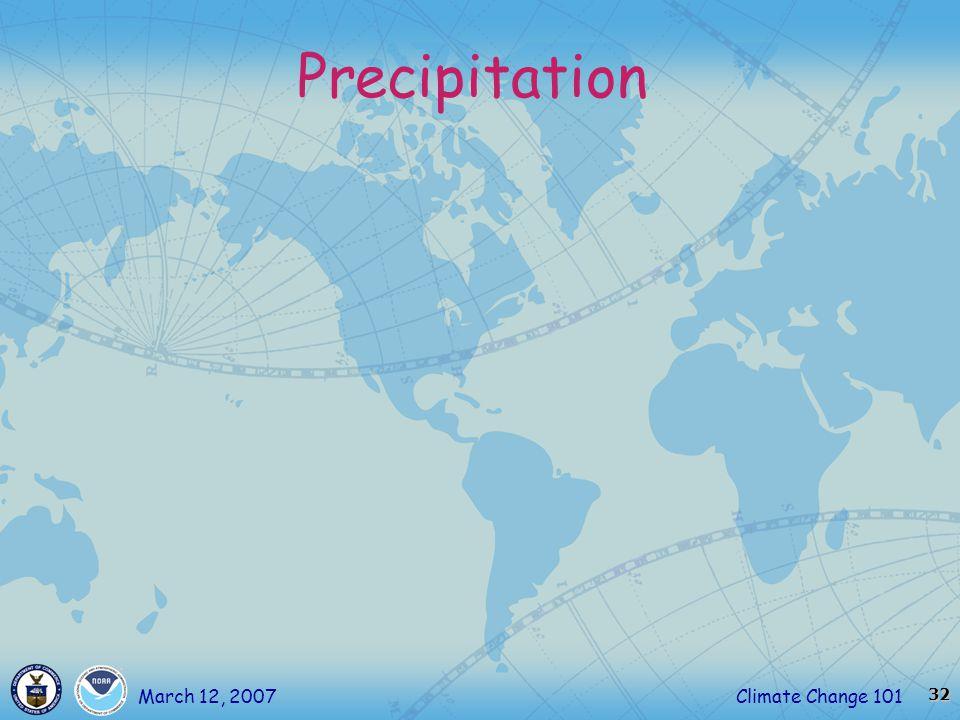 32 Climate Change 101March 12, 2007 Precipitation