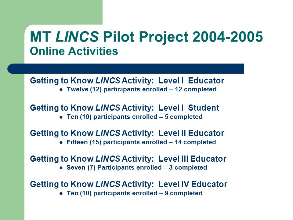 MT LINCS Pilot Project 2004-2005 Research position – MT Discovery: Exploring and Evaluation Internet Sites Expansion of Online Activities Concept