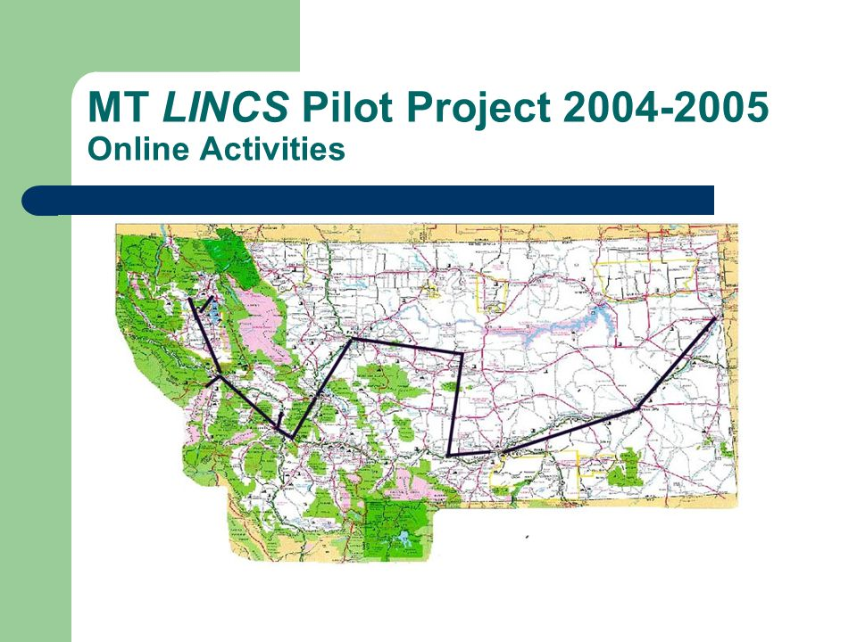 MT LINCS Pilot Project 2004-2005 Online Activities Summary Forty-one (43) participants total Fourteen (14) different locations Twenty-eight (28) new curriculum items added Participant Summary 2002-2003 - 6 2003-2004 - 25 2004-2005 - 43