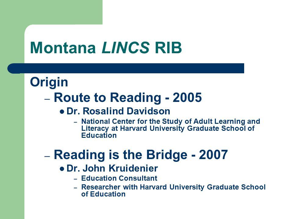 Montana LINCS RIB: 2007-2008 A Virtual Staff Lounge http://www.nwlincs.org/mtlincs/opi/reading /rbindex.htm
