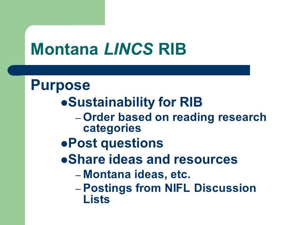 Montana LINCS RIB Origin – Route to Reading - 2005 Dr.
