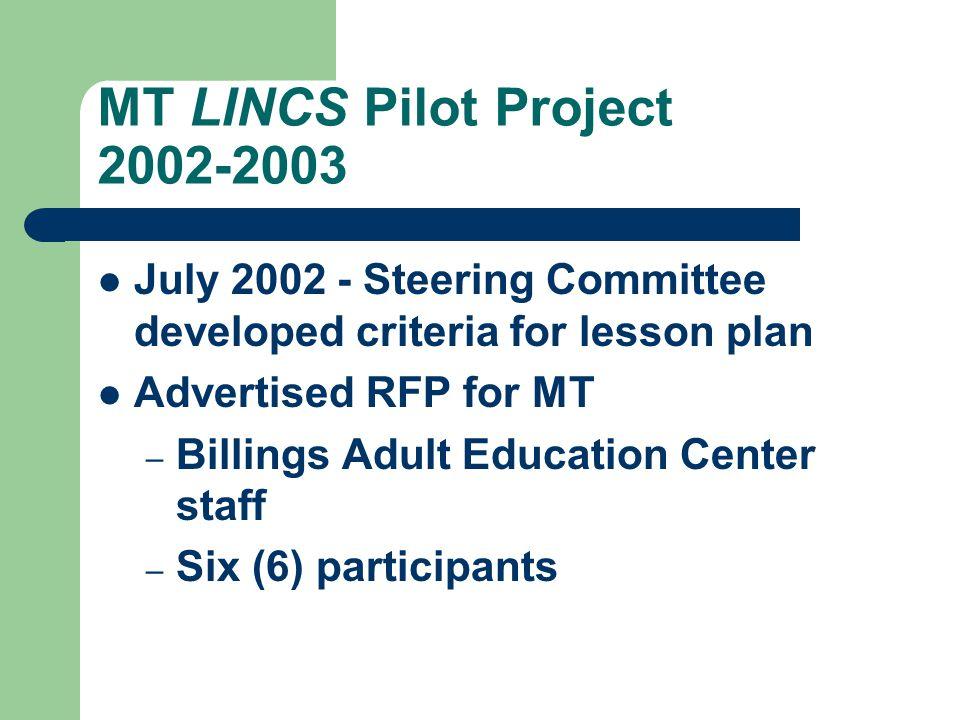 Montana LINCS Pilot Project Student Interactive Websites http://www.nwlincs.org/mtlincs/pilot project/pphome.htm