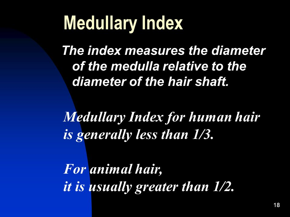 18 Medullary Index The index measures the diameter of the medulla relative to the diameter of the hair shaft.