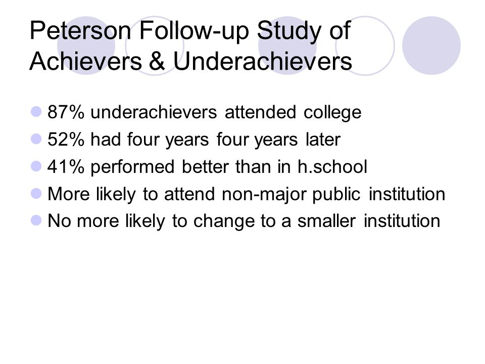 Peterson Follow-up Study of Achievers & Underachievers 87% underachievers attended college 52% had four years four years later 41% performed better than in h.school More likely to attend non-major public institution No more likely to change to a smaller institution