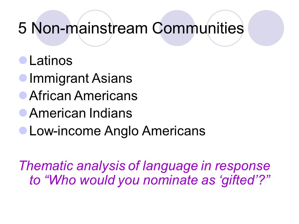 5 Non-mainstream Communities Latinos Immigrant Asians African Americans American Indians Low-income Anglo Americans Thematic analysis of language in response to Who would you nominate as 'gifted'