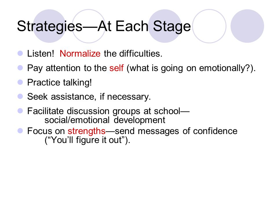 Strategies—At Each Stage Listen. Normalize the difficulties.