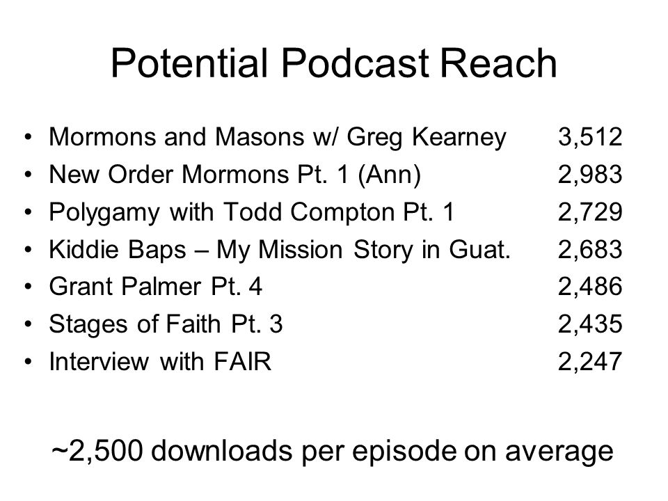 Potential Podcast Reach Mormons and Masons w/ Greg Kearney 3,512 New Order Mormons Pt.