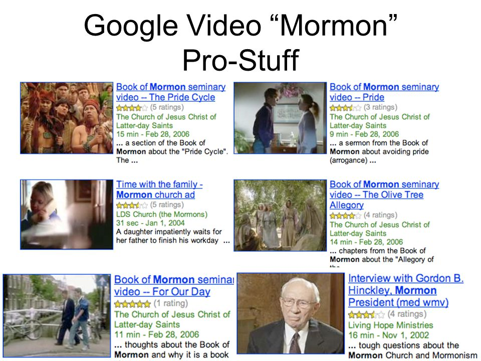Google Video Mormon Pro-Stuff