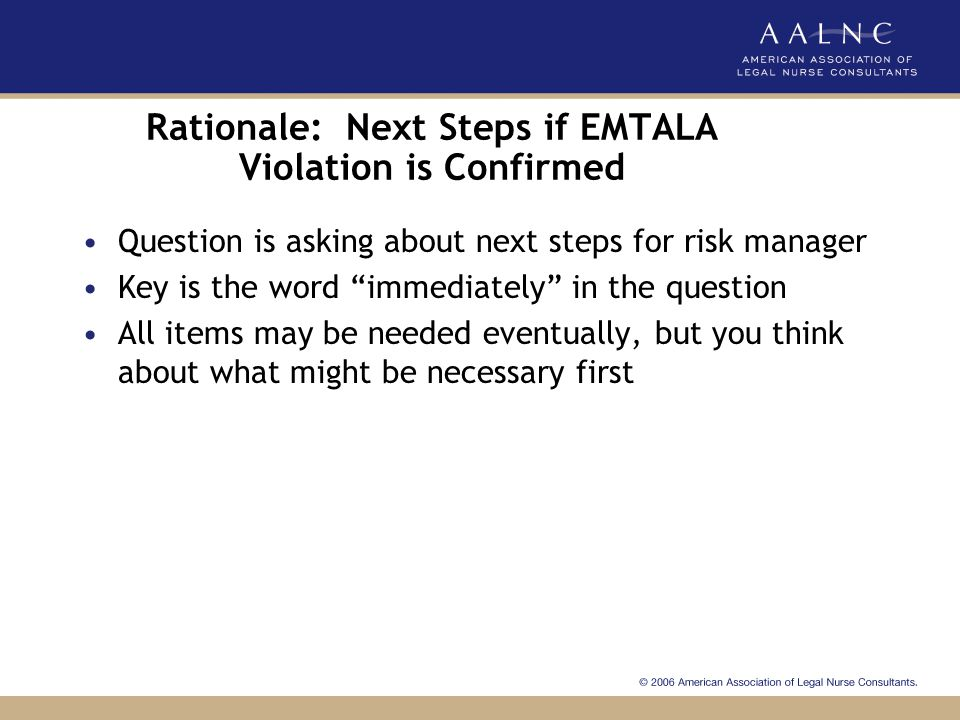 Sample Questions: Risk Management Which of the following best describes the error made in the ED to form the basis of the EMTALA violation: a.Failure to aggressively obtain HMO authorization for treatment b.Failure to transport Ryan to a HMO approved hospital c.Failure to obtain a pediatric consult to assess Ryan's symptoms.