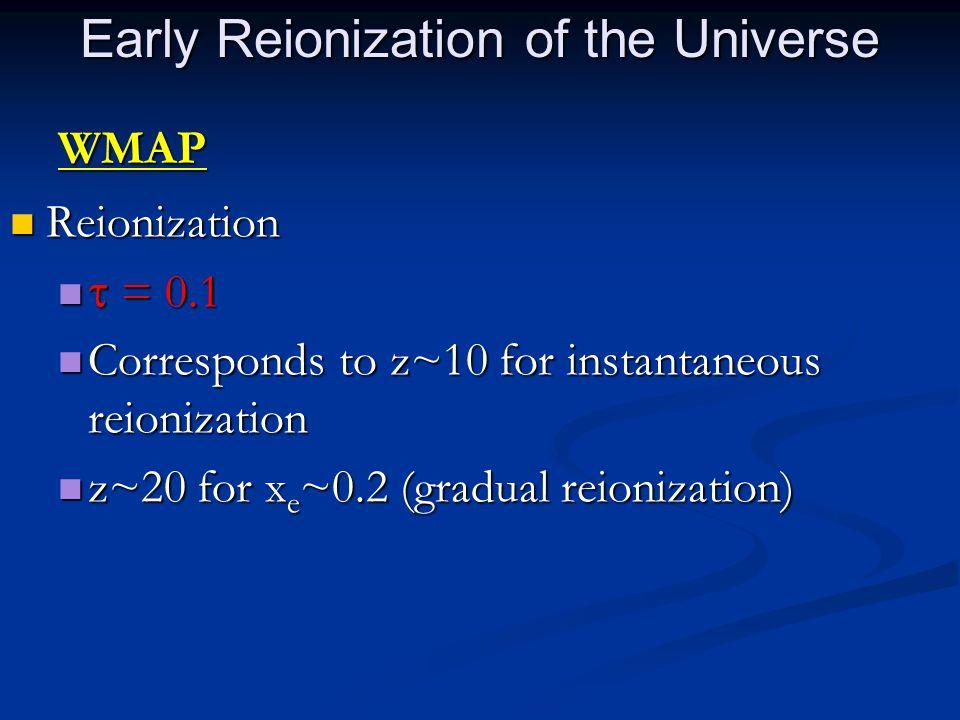 WMAP Reionization Reionization  = 0.1  = 0.1 Corresponds to z~10 for instantaneous reionization Corresponds to z~10 for instantaneous reionization z~20 for x e ~0.2 (gradual reionization) z~20 for x e ~0.2 (gradual reionization) Early Reionization of the Universe
