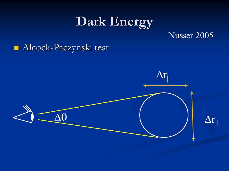 Dark Energy Alcock-Paczynski test Alcock-Paczynski test   r || rr Nusser 2005