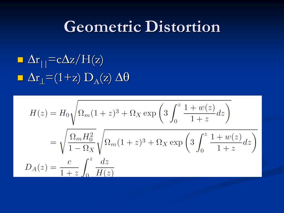 Geometric Distortion  r || =c  z/H(z)  r || =c  z/H(z)  r  =(1+z) D A (z)   r  =(1+z) D A (z) 