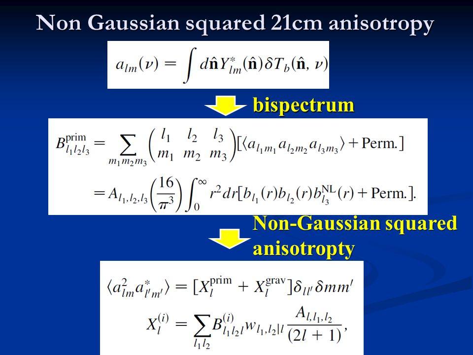 Non Gaussian squared 21cm anisotropy bispectrum Non-Gaussian squared anisotropty