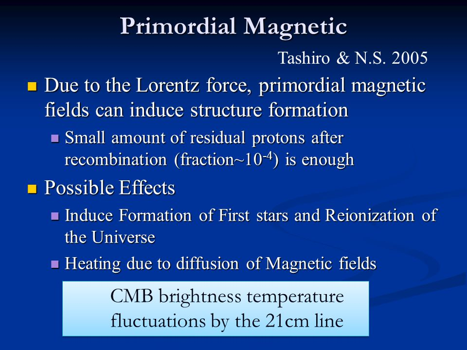 Primordial Magnetic Due to the Lorentz force, primordial magnetic fields can induce structure formation Due to the Lorentz force, primordial magnetic