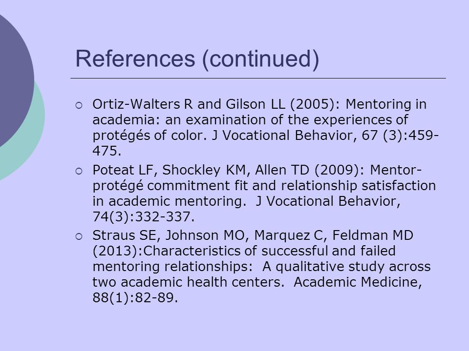 References (continued)  Ortiz-Walters R and Gilson LL (2005): Mentoring in academia: an examination of the experiences of protégés of color.