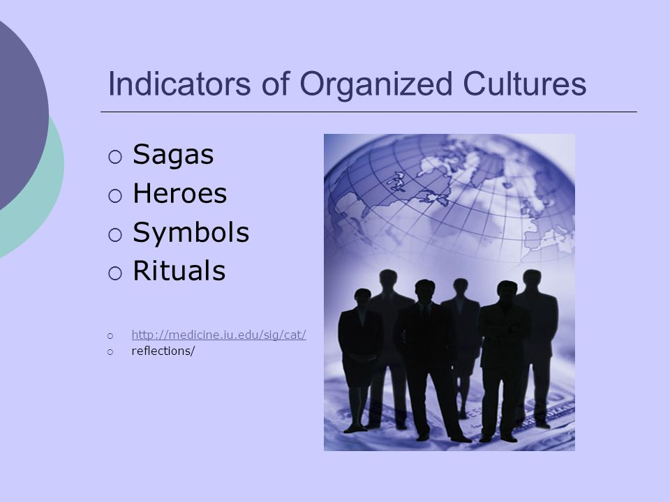 Indicators of Organized Cultures  Sagas  Heroes  Symbols  Rituals  http://medicine.iu.edu/sig/cat/ http://medicine.iu.edu/sig/cat/  reflections/