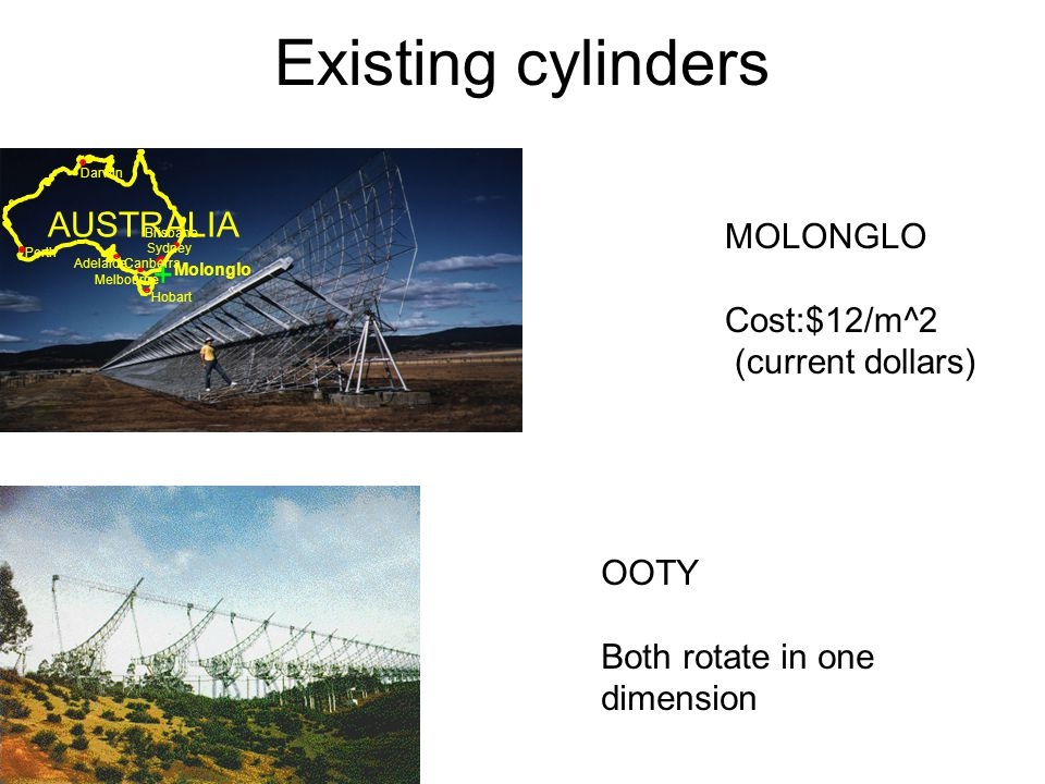 Existing cylinders MOLONGLO Cost:$12/m^2 (current dollars) OOTY Both rotate in one dimension Molonglo AUSTRALIA Brisbane Darwin Perth Canberra Hobart Adelaide Melbourne Sydney +