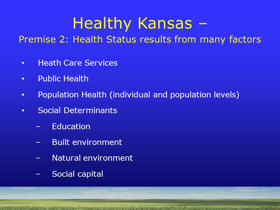 Heath Care Services Public Health Population Health (individual and population levels) Social Determinants –Education –Built environment –Natural environment –Social capital Healthy Kansas – Premise 2: Health Status results from many factors