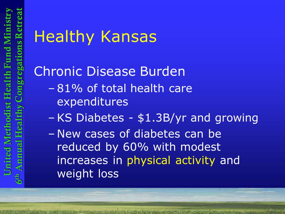 Healthy Kansans 2010 United Methodist Health Fund Ministry 6 th Annual Healthy Congregations Retreat Healthy Kansas Chronic Disease Burden –81% of total health care expenditures –KS Diabetes - $1.3B/yr and growing –New cases of diabetes can be reduced by 60% with modest increases in physical activity and weight loss
