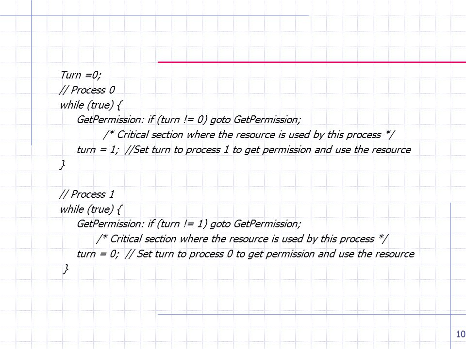 Turn =0; // Process 0 while (true) { GetPermission: if (turn != 0) goto GetPermission; /* Critical section where the resource is used by this process */ turn = 1; //Set turn to process 1 to get permission and use the resource } // Process 1 while (true) { GetPermission: if (turn != 1) goto GetPermission; /* Critical section where the resource is used by this process */ turn = 0; // Set turn to process 0 to get permission and use the resource } 10