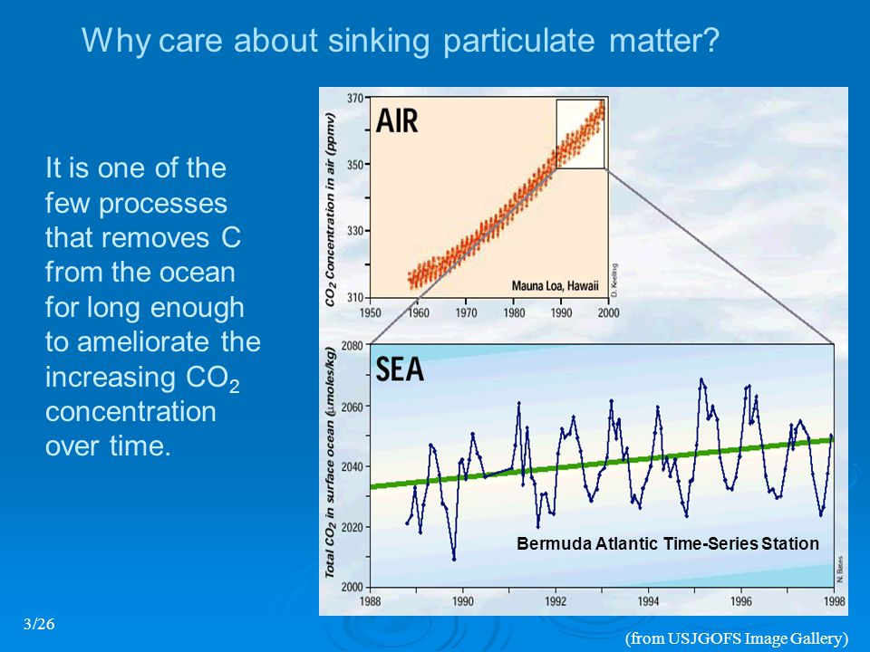 (from USJGOFS Image Gallery) Bermuda Atlantic Time-Series Station Why care about sinking particulate matter.
