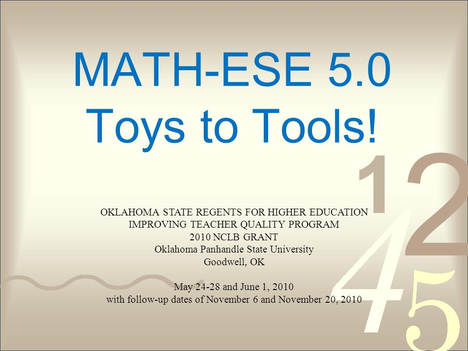 MATH-ESE 5.0 Toys to Tools.