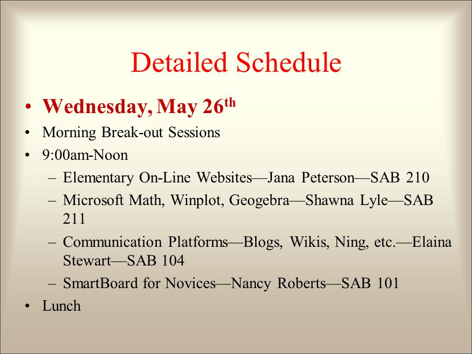 Detailed Schedule Wednesday, May 26 th Morning Break-out Sessions 9:00am-Noon –Elementary On-Line Websites—Jana Peterson—SAB 210 –Microsoft Math, Winplot, Geogebra—Shawna Lyle—SAB 211 –Communication Platforms—Blogs, Wikis, Ning, etc.—Elaina Stewart—SAB 104 –SmartBoard for Novices—Nancy Roberts—SAB 101 Lunch