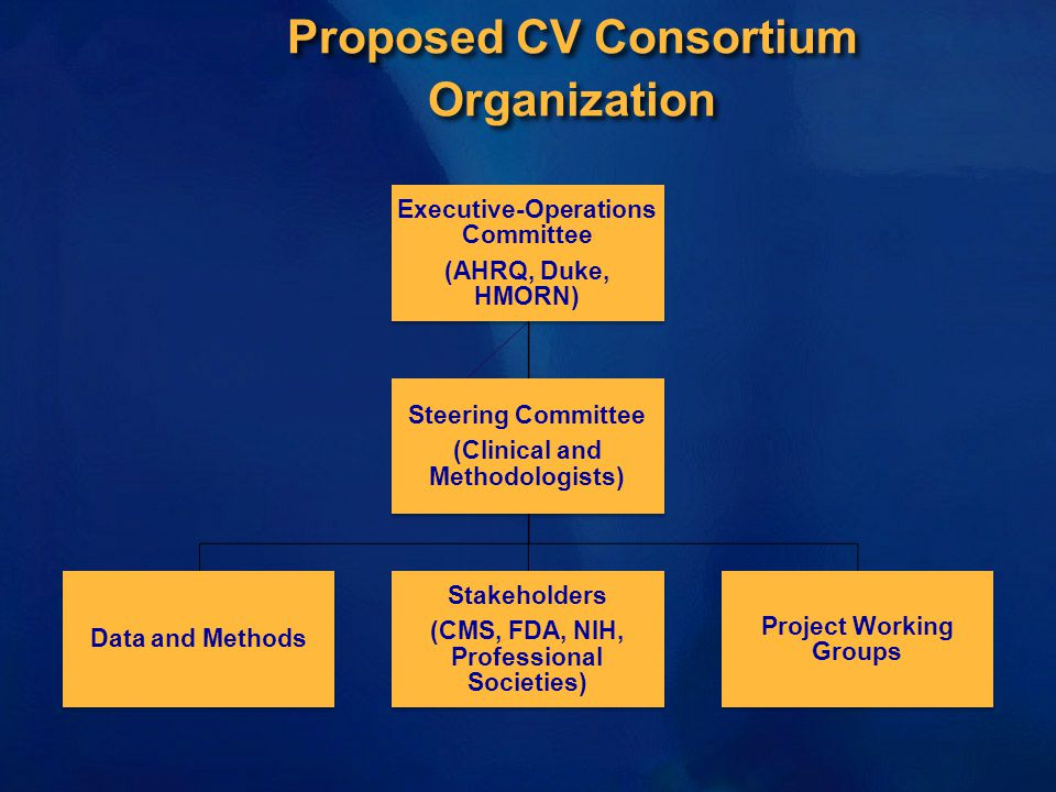 Proposed CV Consortium Organization Executive-Operations Committee (AHRQ, Duke, HMORN) Data and Methods Stakeholders (CMS, FDA, NIH, Professional Societies) Project Working Groups Steering Committee (Clinical and Methodologists)