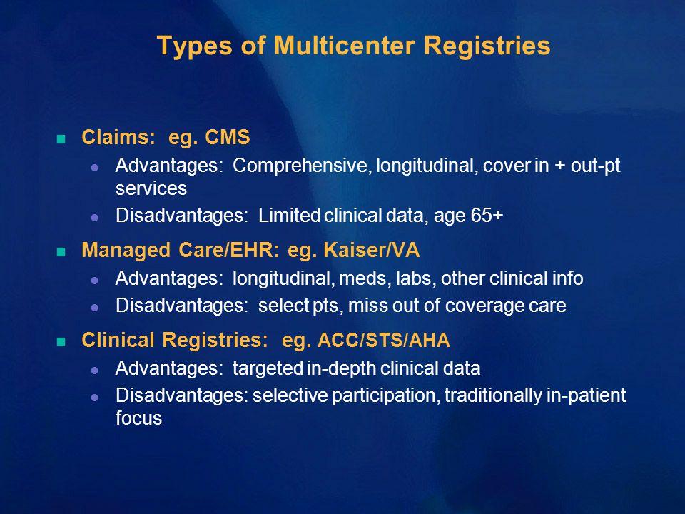 Types of Multicenter Registries n Claims: eg.