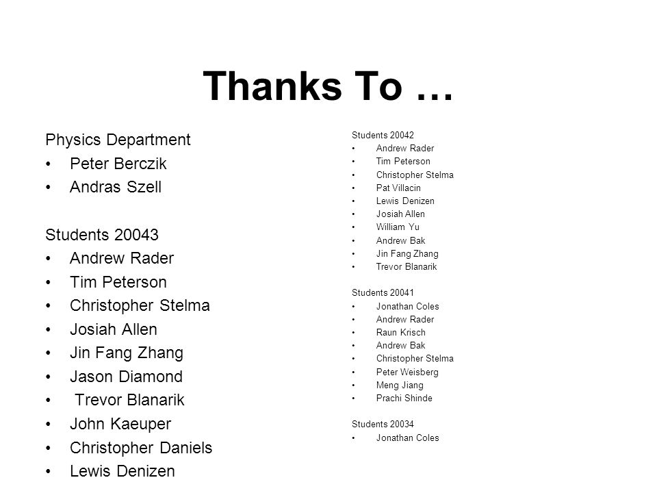 Thanks To … Physics Department Peter Berczik Andras Szell Students 20043 Andrew Rader Tim Peterson Christopher Stelma Josiah Allen Jin Fang Zhang Jaso