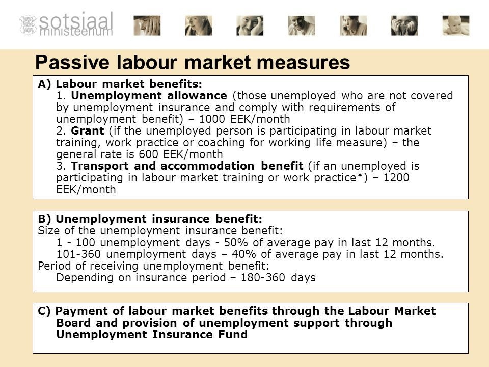 Passive labour market measures B) Unemployment insurance benefit: Size of the unemployment insurance benefit: 1 - 100 unemployment days - 50% of average pay in last 12 months.