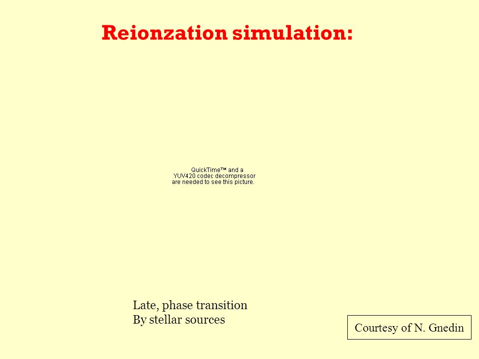 Reionzation simulation: Courtesy of N. Gnedin Late, phase transition By stellar sources
