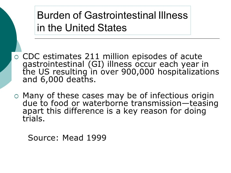 Burden of Gastrointestinal Illness in the United States  CDC estimates 211 million episodes of acute gastrointestinal (GI) illness occur each year in the US resulting in over 900,000 hospitalizations and 6,000 deaths.