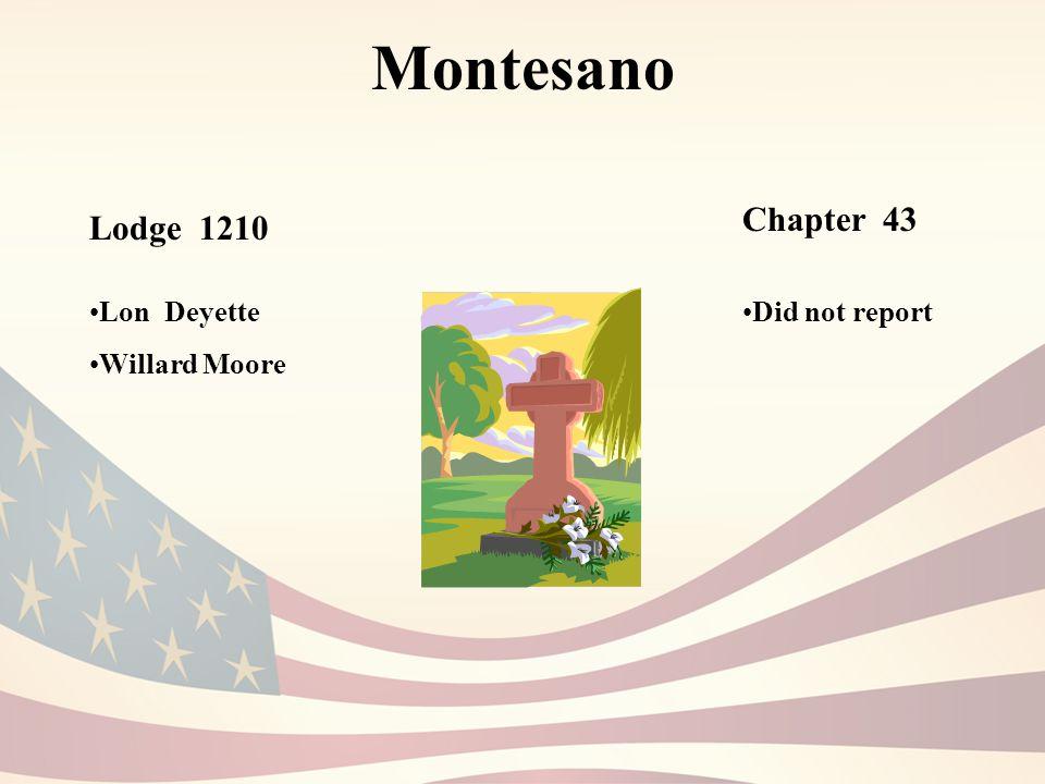 Montesano Lodge 1210 Chapter 43 Lon Deyette Willard Moore Did not report