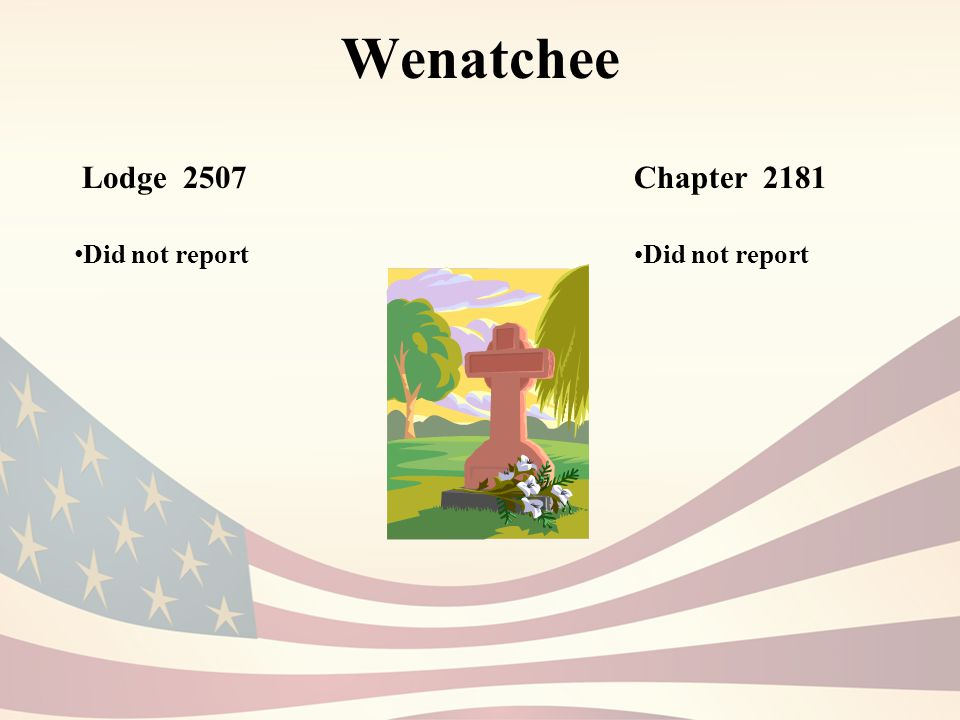 Wenatchee Lodge 2507 Did not report Chapter 2181 Did not report