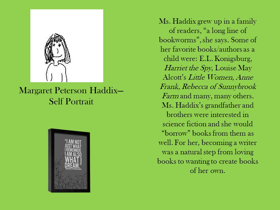 Running Out of Time was Ms.Haddix's first novel published in 1995.