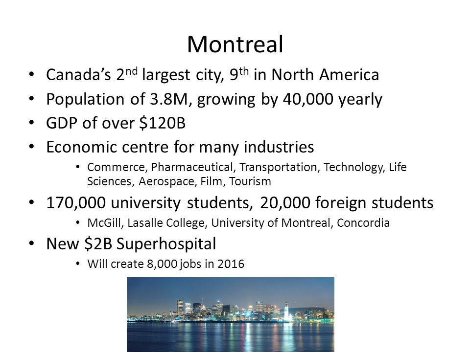 Investment Potential Trophy building that will change the city skyline and continue to appreciate once delivered and recognized North America's best rent/price ratio-investment return Montreal's strongest rental node Best in market amenities, reasonable common area charges Growing demand from migration to downtown core, universities, new super-hospital and proximity to transit and CBD Suites designed with fantastic, efficient layouts Positive cash flow from day 1 Hard to replicate, strategic urban-infill site will contribute to above average rent and value appreciation