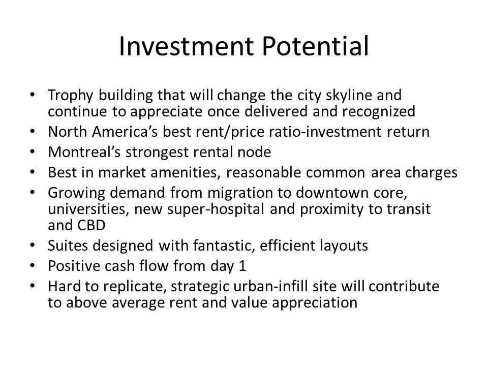 Investment Potential Trophy building that will change the city skyline and continue to appreciate once delivered and recognized North America's best r