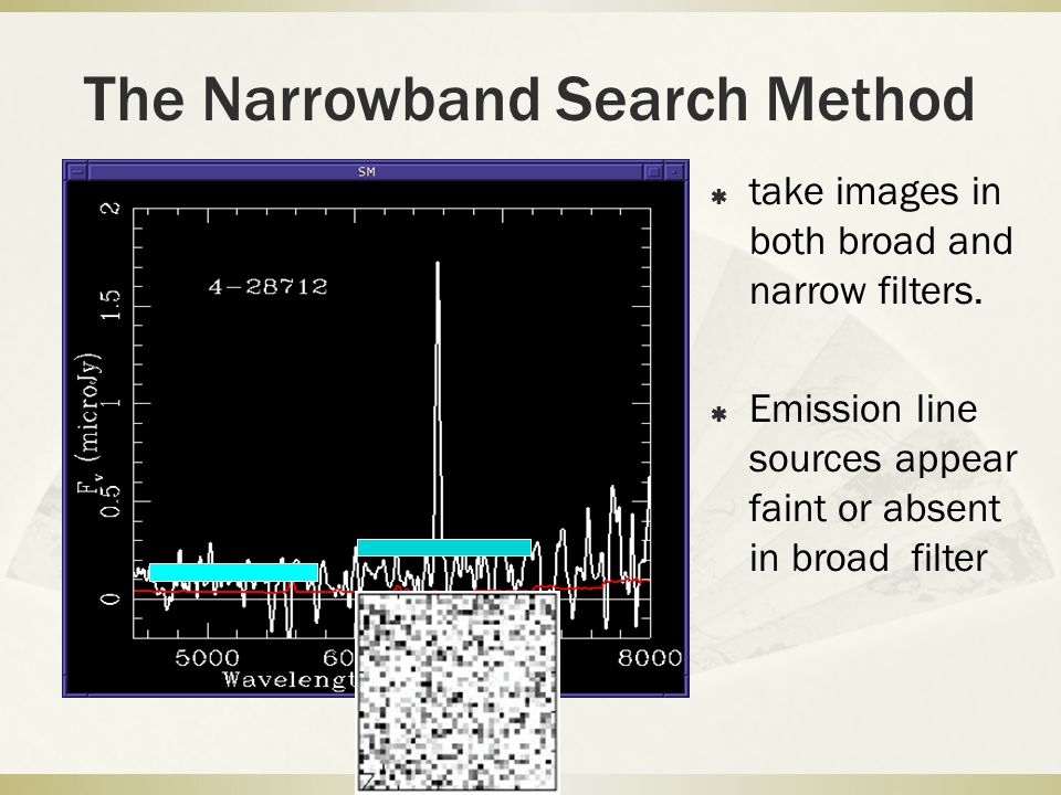 The Narrowband Search Method  take images in both broad and narrow filters.