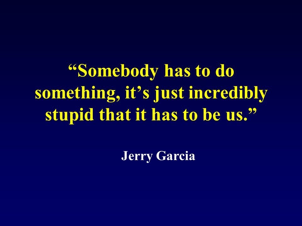 Somebody has to do something, it's just incredibly stupid that it has to be us. Jerry Garcia