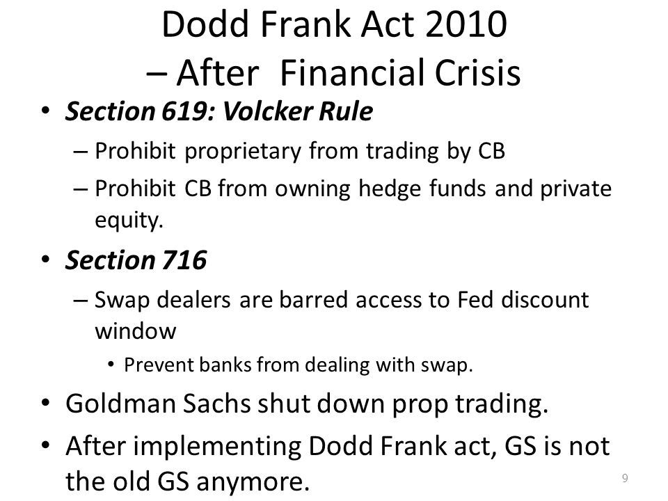 Dodd Frank Act 2010 – After Financial Crisis Section 619: Volcker Rule – Prohibit proprietary from trading by CB – Prohibit CB from owning hedge funds and private equity.