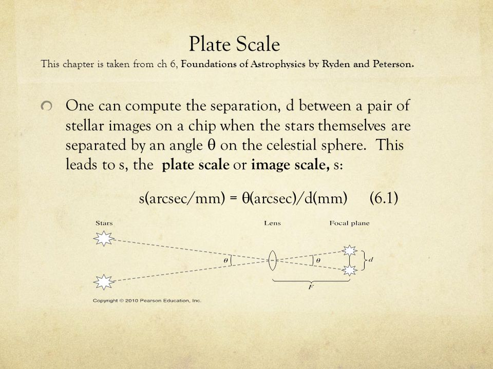 Plate Scale This chapter is taken from ch 6, Foundations of Astrophysics by Ryden and Peterson. One can compute the separation, d between a pair of st