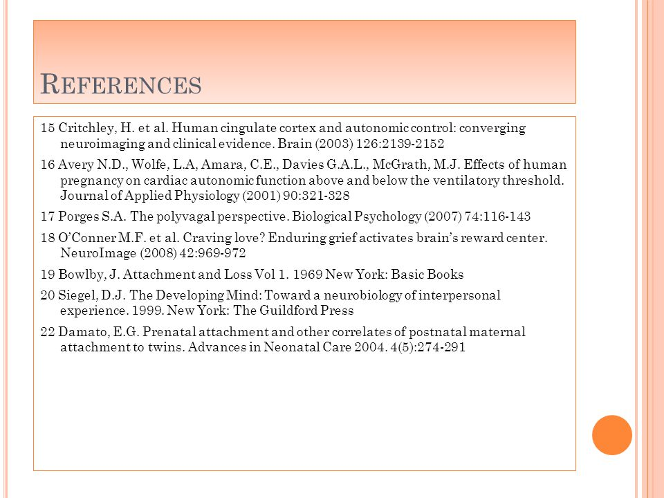 R EFERENCES 15 Critchley, H. et al.