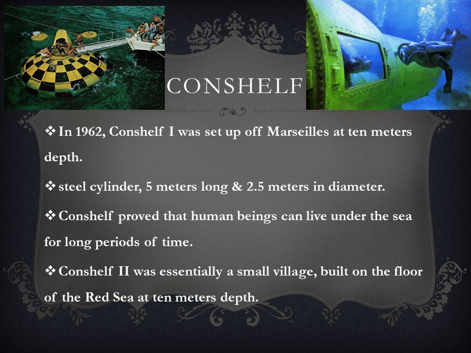 CONSHELF  In 1962, Conshelf I was set up off Marseilles at ten meters depth.