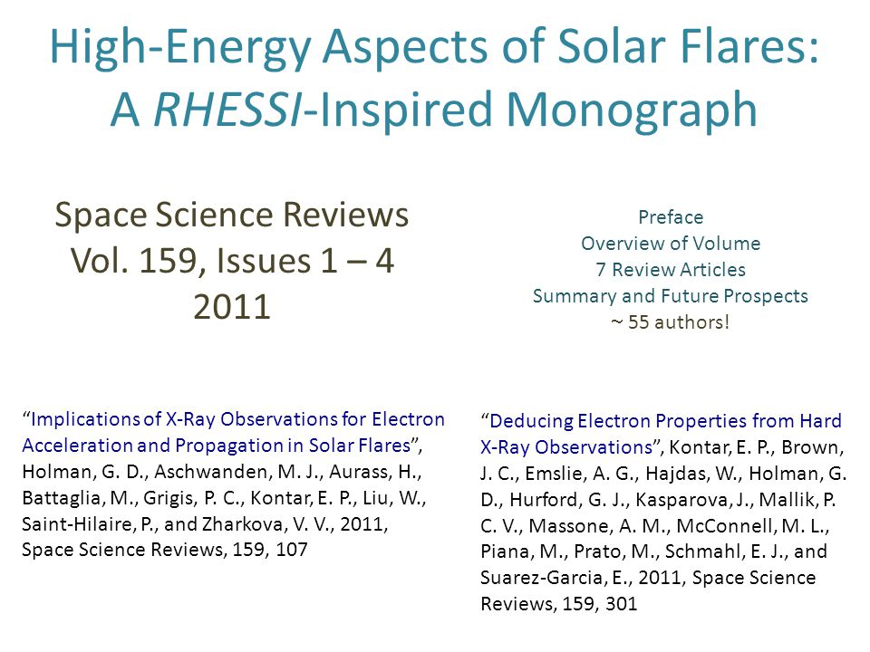 High-Energy Aspects of Solar Flares: A RHESSI-Inspired Monograph Space Science Reviews Vol. 159, Issues 1 – 4 2011 Preface Overview of Volume 7 Review