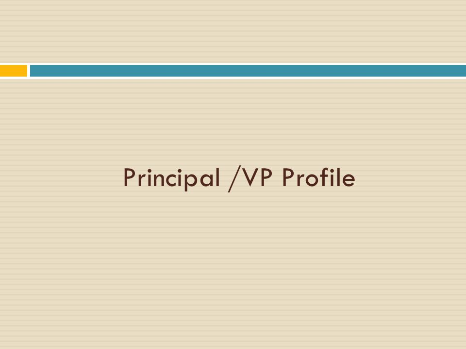 Principal /VP Profile