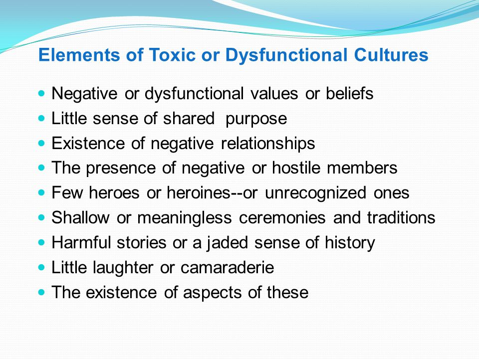 "Types of Culture Positive—Negative Strong—Weak Learning-Growing—Static-Floating—Toxic-Dying Organizationally Joyous—Organizationally ""Depressed"" Coher"