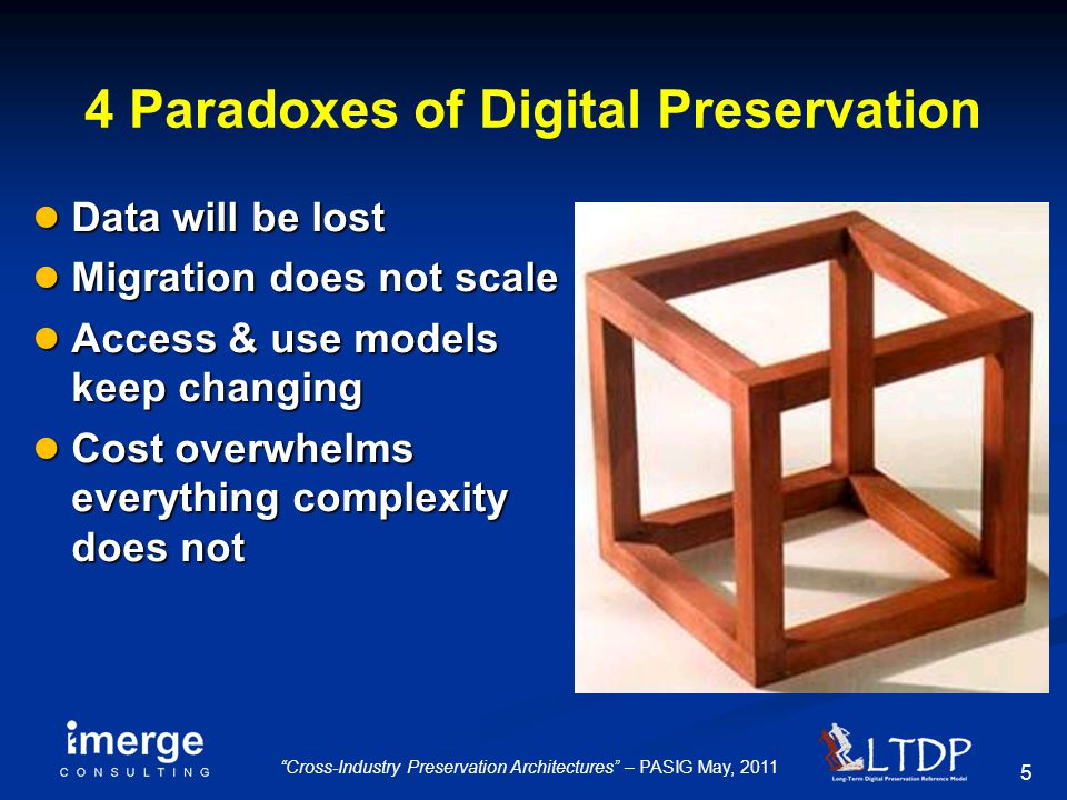 "5 ""Cross-Industry Preservation Architectures"" – PASIG May, 2011 4 Paradoxes of Digital Preservation ● Data will be lost ● Migration does not scale ● A"